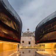 Steel ribbing flanks courtyard at Palace for Mexican Music