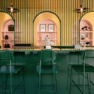 Appareil Architecture colour-codes spaces at Pastel Rita cafe in Montreal