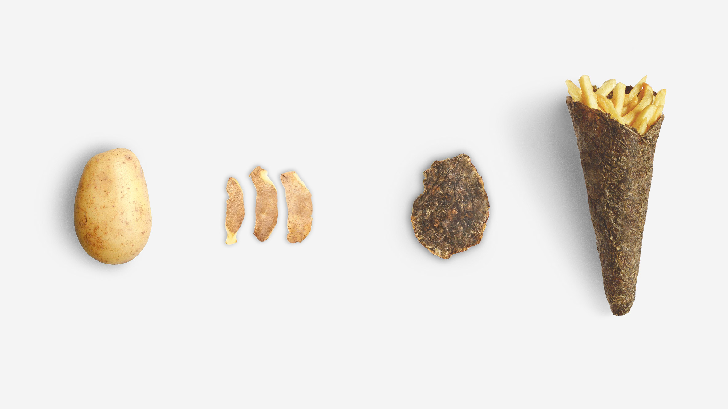 Peel Saver is an ecological packaging for fries made from potato skins