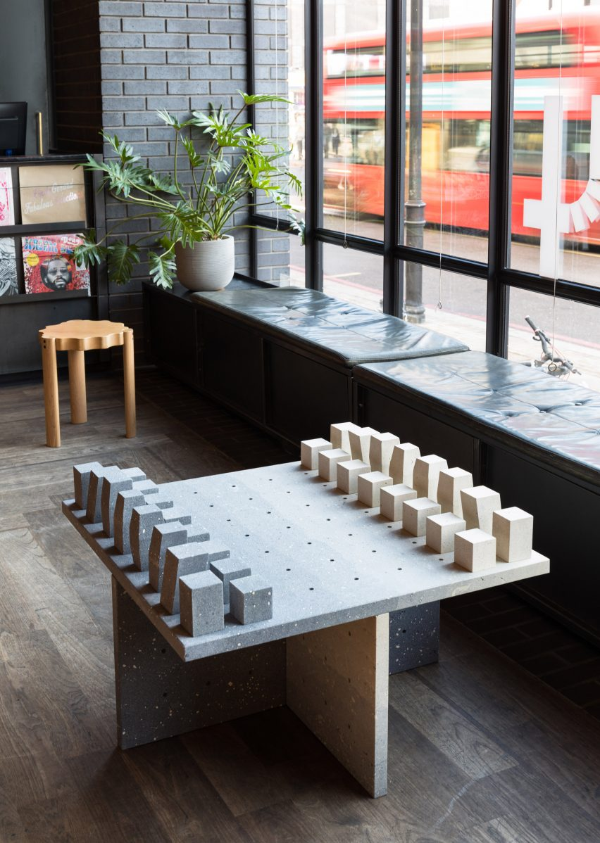 Abstract chess set and blue tableware created for London's Ace Hotel