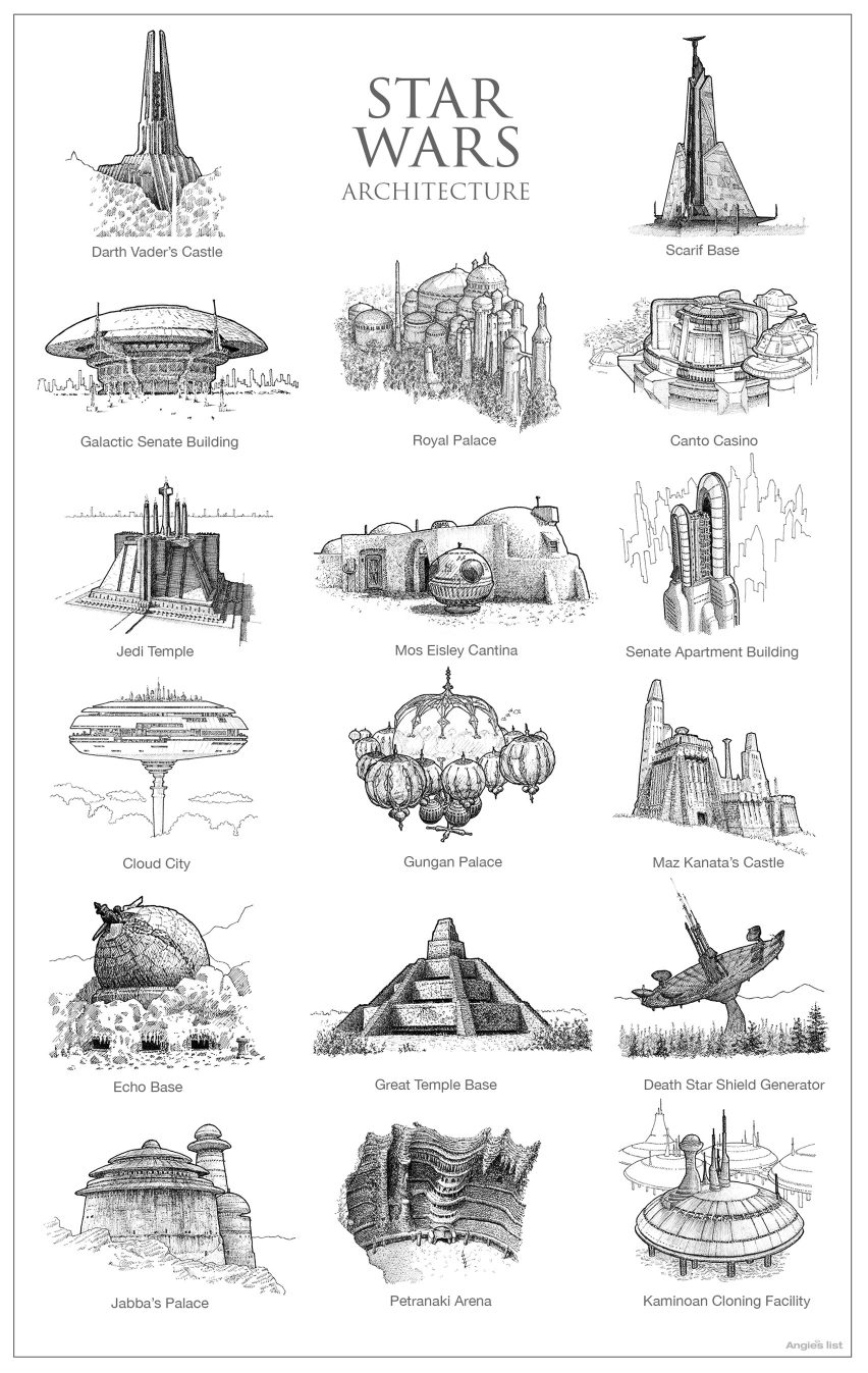 Star Wars architecture illustrations