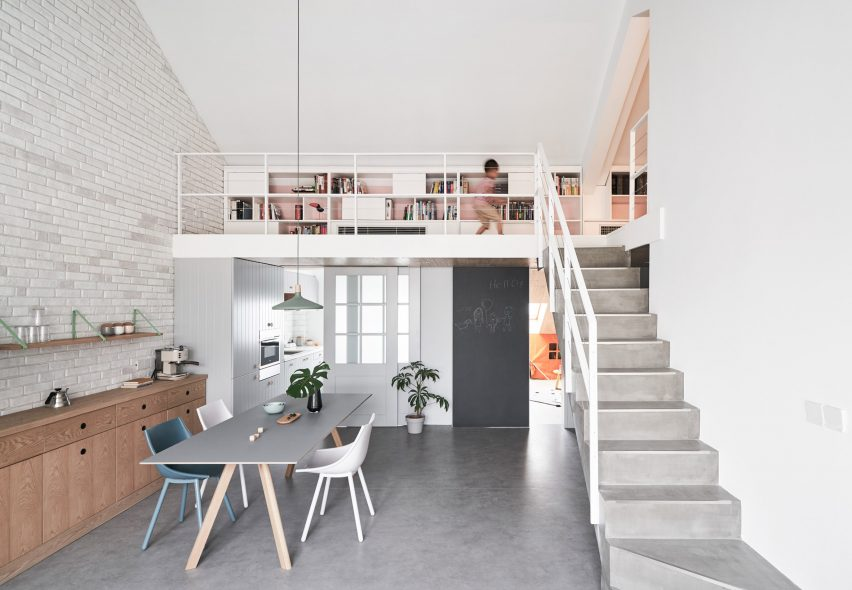 Hao Design Uses Pastel Hues For Pitched Roof Apartment In Beijing Dezeen