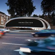 "Zaha Hadid's twisted steel advertising board ""expresses dynamism"" of traffic"