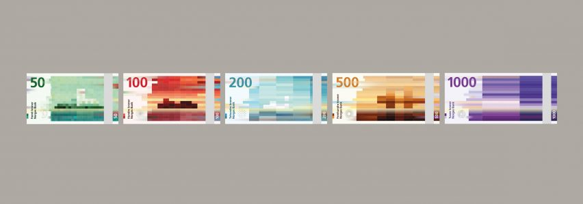 Snøhetta's pixelated design for Norway's banknote goes into circulation