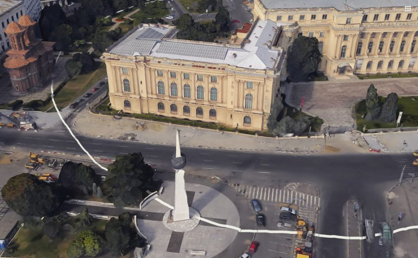 Artist paints impermanent white circle around the Romanian National Museum of Art
