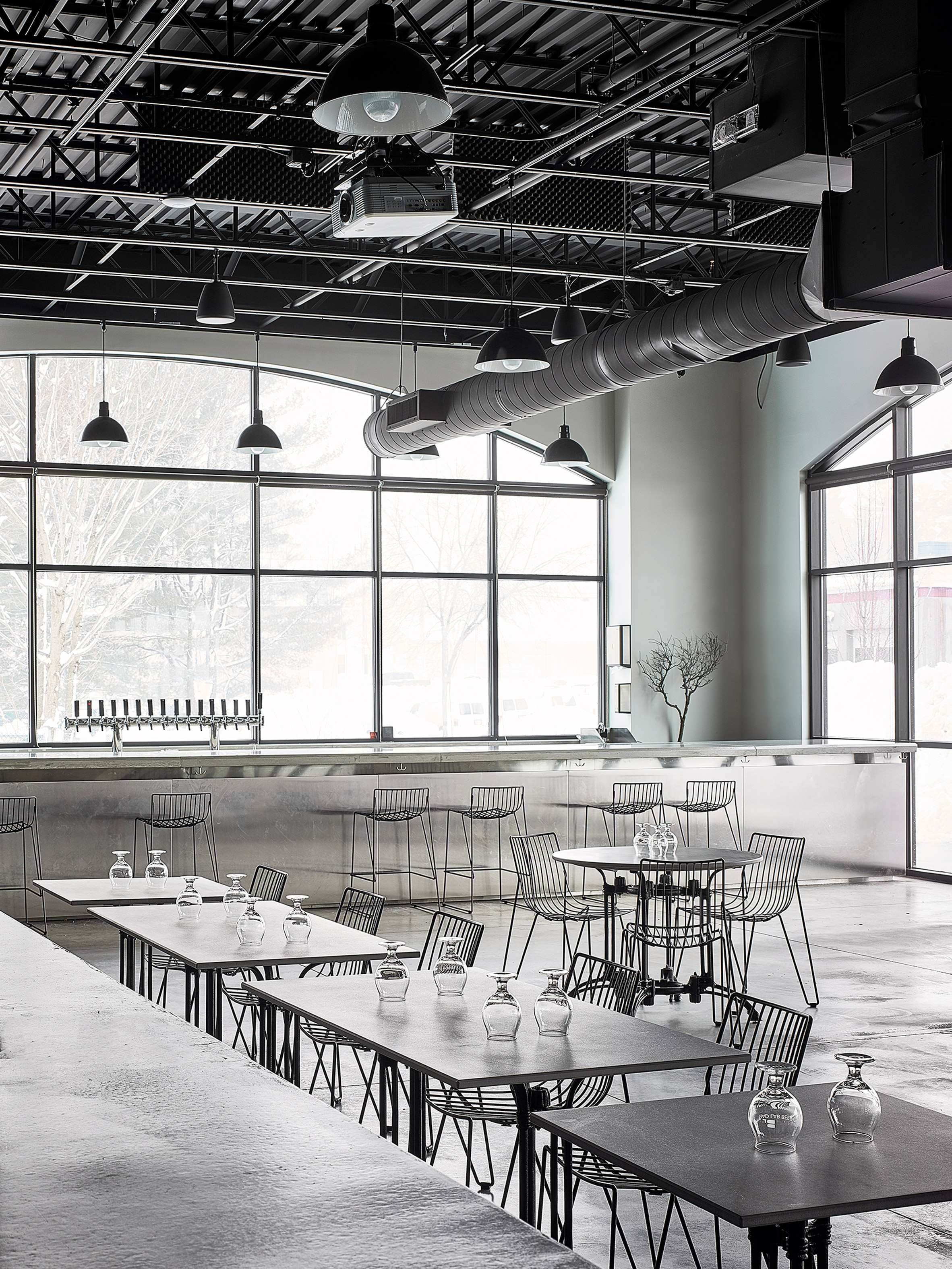 Bad Lab Beer Co brewery in New Hampshire features steely interiors by Richard Lindvall