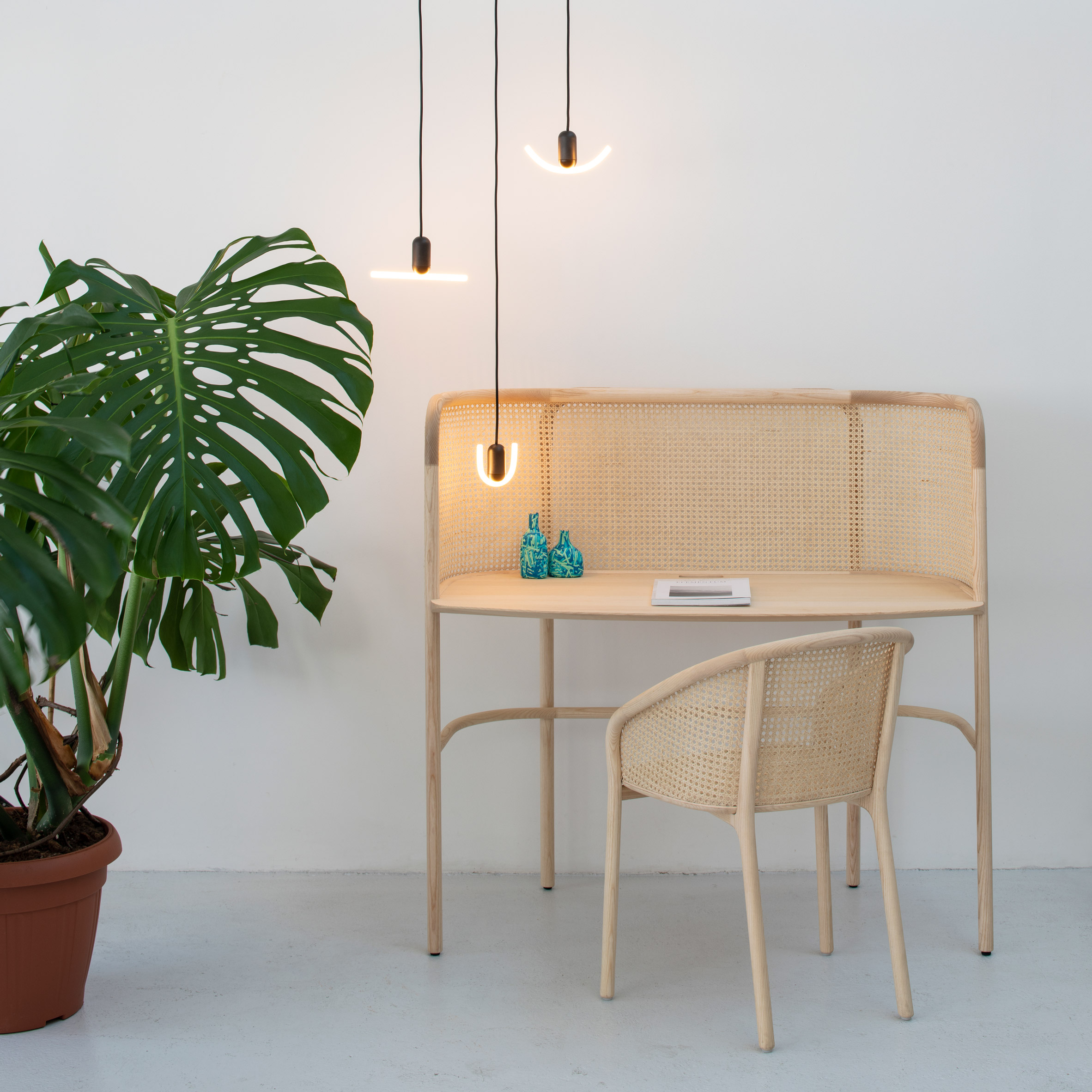 Beem's inaugural lighting collection features two graphic LED pendants