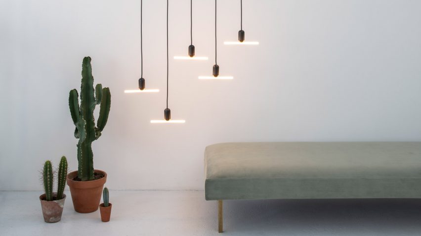 beem s inaugural lighting collection features two graphic led pendants