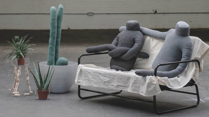 Headless man-shaped pillow intended as cure for loneliness