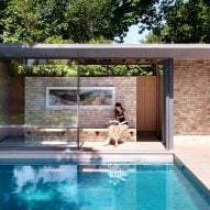 Pared-back garden pavilions by Threefold Architects provide space for poolside relaxation