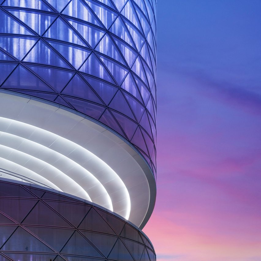 Stairs spiral around the perimeter of ATAH's glazed Heli-stage art space