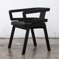 Esrawe exhibits black wooden furniture for Design Week Mexico