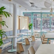 "New York restaurant Junzi Kitchen is coloured to evoke ""early spring in Northern China"""
