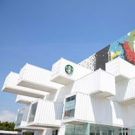 Kengo Kuma stacks shipping containers to create drive-through Starbucks in Taiwan