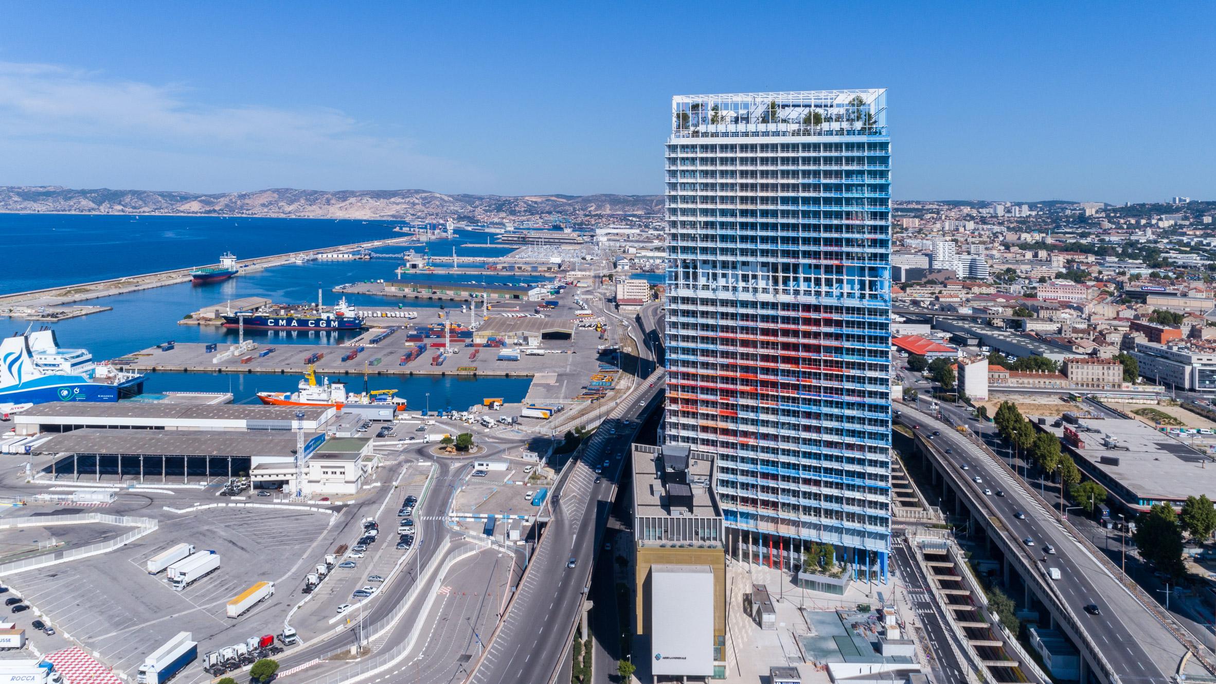 Jean nouvel completes red white and blue skyscraper la marseillaise