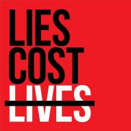Yves Béhar responds to Pittsburgh synagogue shooting with Lies Cost Lives graphic