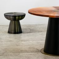 Cala resin collection features folded plant pots and stripy tables