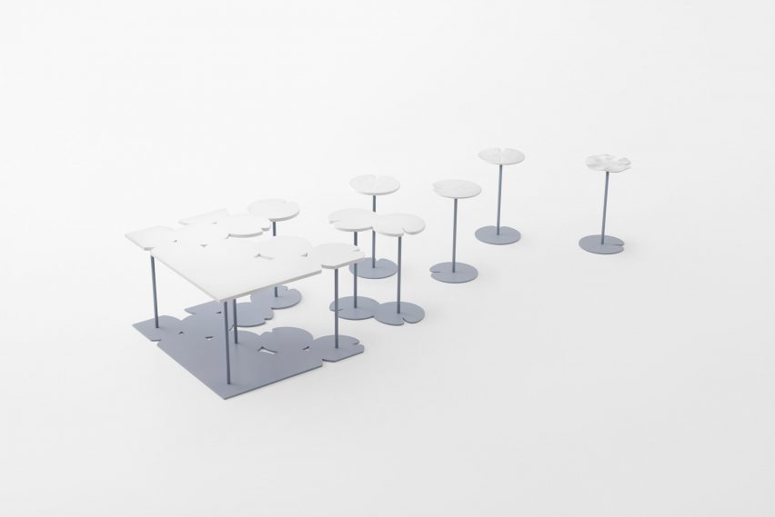 Nendo uses Sèvres porcelain to make flowers from handles and a lilypad table
