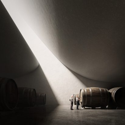 Rendering of Pingus Winery by Peter Zumthor