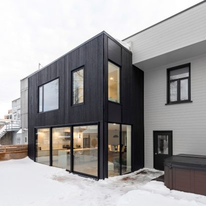 Black Extension By Hatem + D And Étienne Bernier Contrasts Pale Brick  Quebec City Home