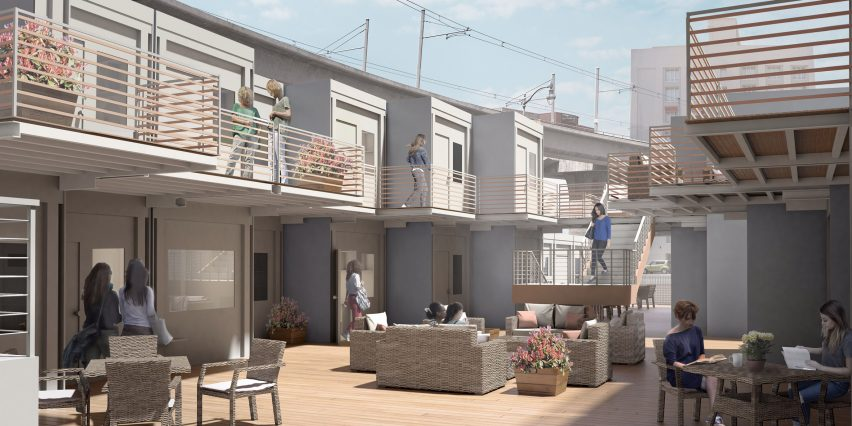 Homes for Hope is a homeless housing solution for Los Angeles by architecture studio MadWorkshop that aims to bridge the gap between life on the streets and permanent accommodation.