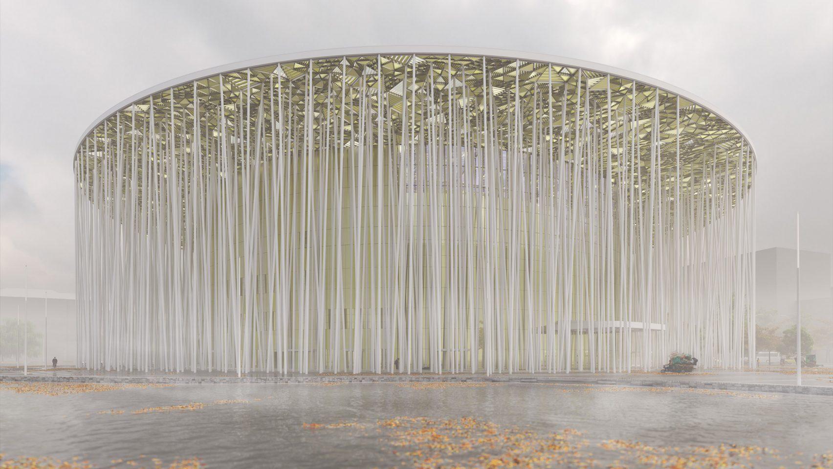 Шоу-театр Уси с белыми колоннами и золотым навесом
