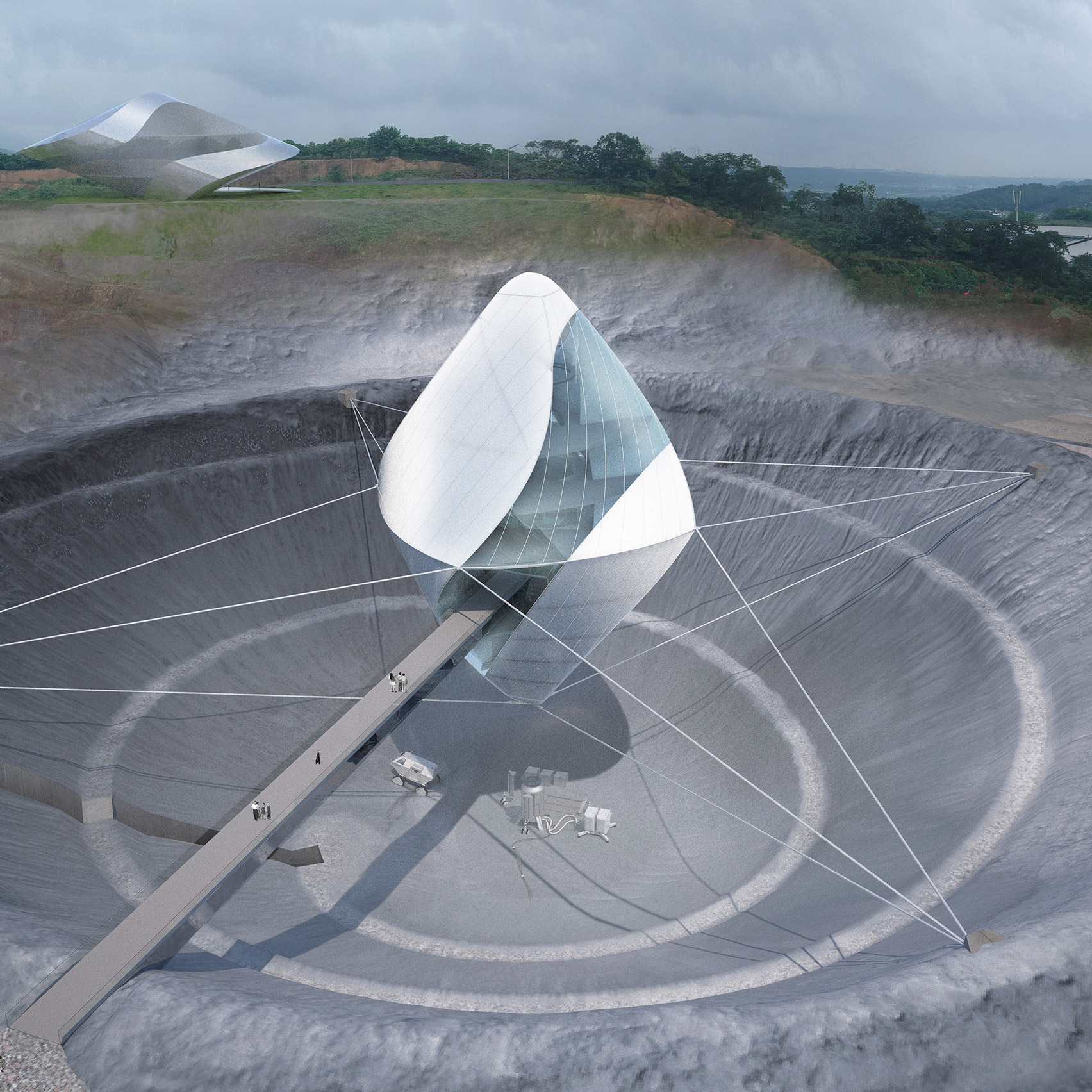 new concept 4f57a 6515a Clouds Architecture Office s Space exploration centre for Avatar X will be  suspended over a moon-like crater