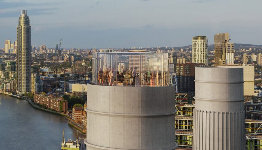 Battersea Power Station glass Chimney Lift by Wilkinson Eyre