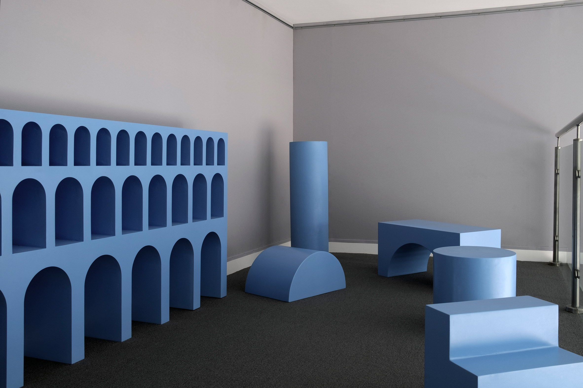 Matteo Pacella and Philippine Hamen design blue classical furniture