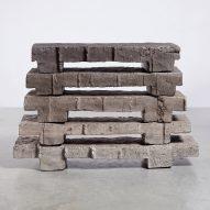 Bram Vanderbeke uses concrete waste blocks to create neolithic-looking furniture