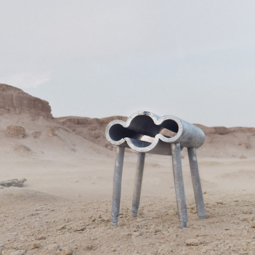 Desert cast chairs at Dubai Design Week by Jassim Al Nashmi, Kawther Al Saffar and Ricardas Blazukas