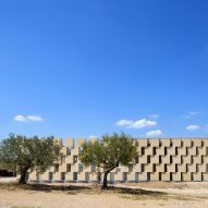 Massive stone blocks form walls of Provence winery