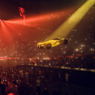 "Drake's ""super democratic"" tour features 200 drones and a flying Ferrari"