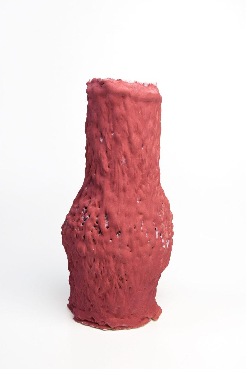 Design Academy Eindhoven graduate Erika Emeren uses spit-cake technique to make ceramic vases