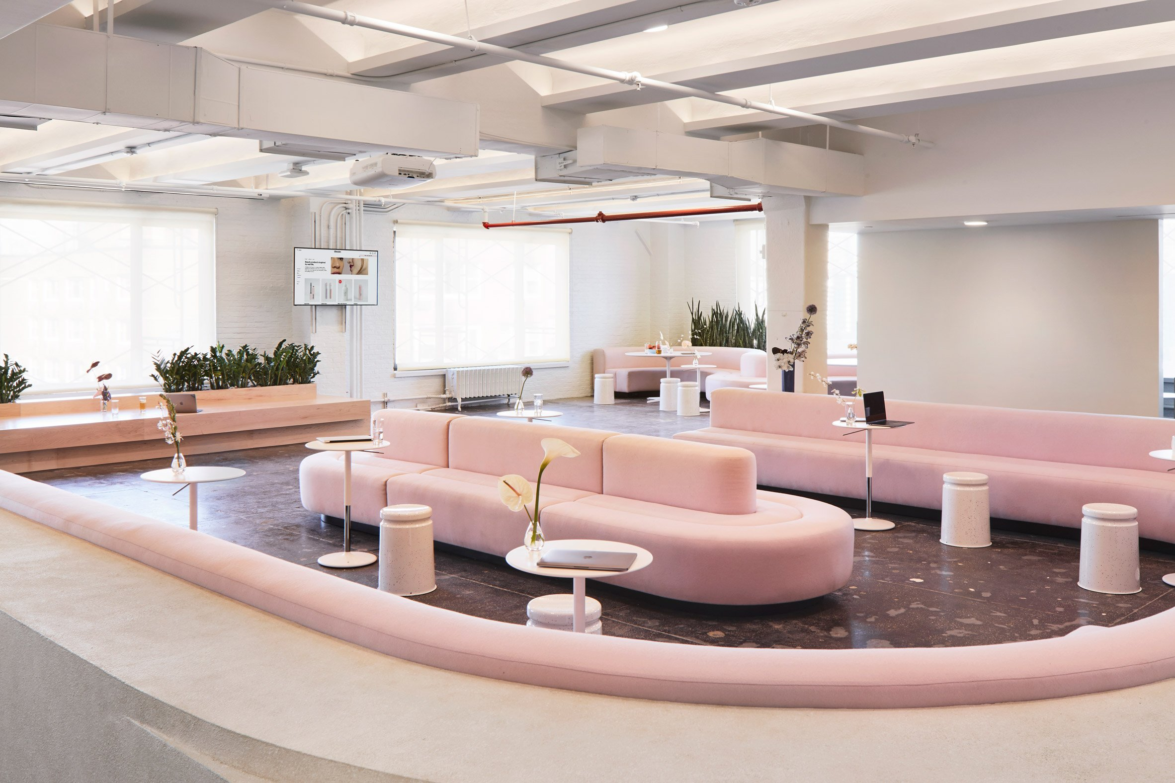 Rafael de cárdenas plays with pink at glossier hq in new york