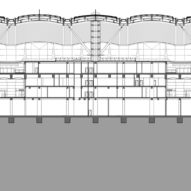 Section of The Passenger Clearance Building by Rogers Stirk Harbour + Partners and Aedas in Hong Kong