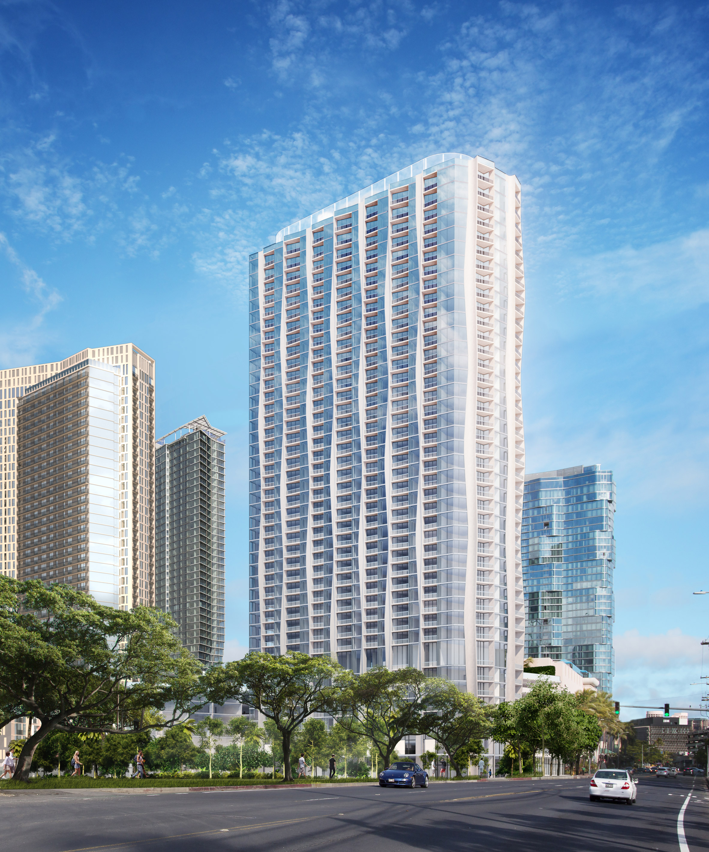 Studio Gang reveals undulating K?'ula luxury tower for Hawaii