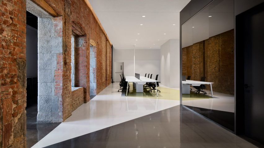 ACDF Architecture combines pastels and exposed brick at Lightspeed offices