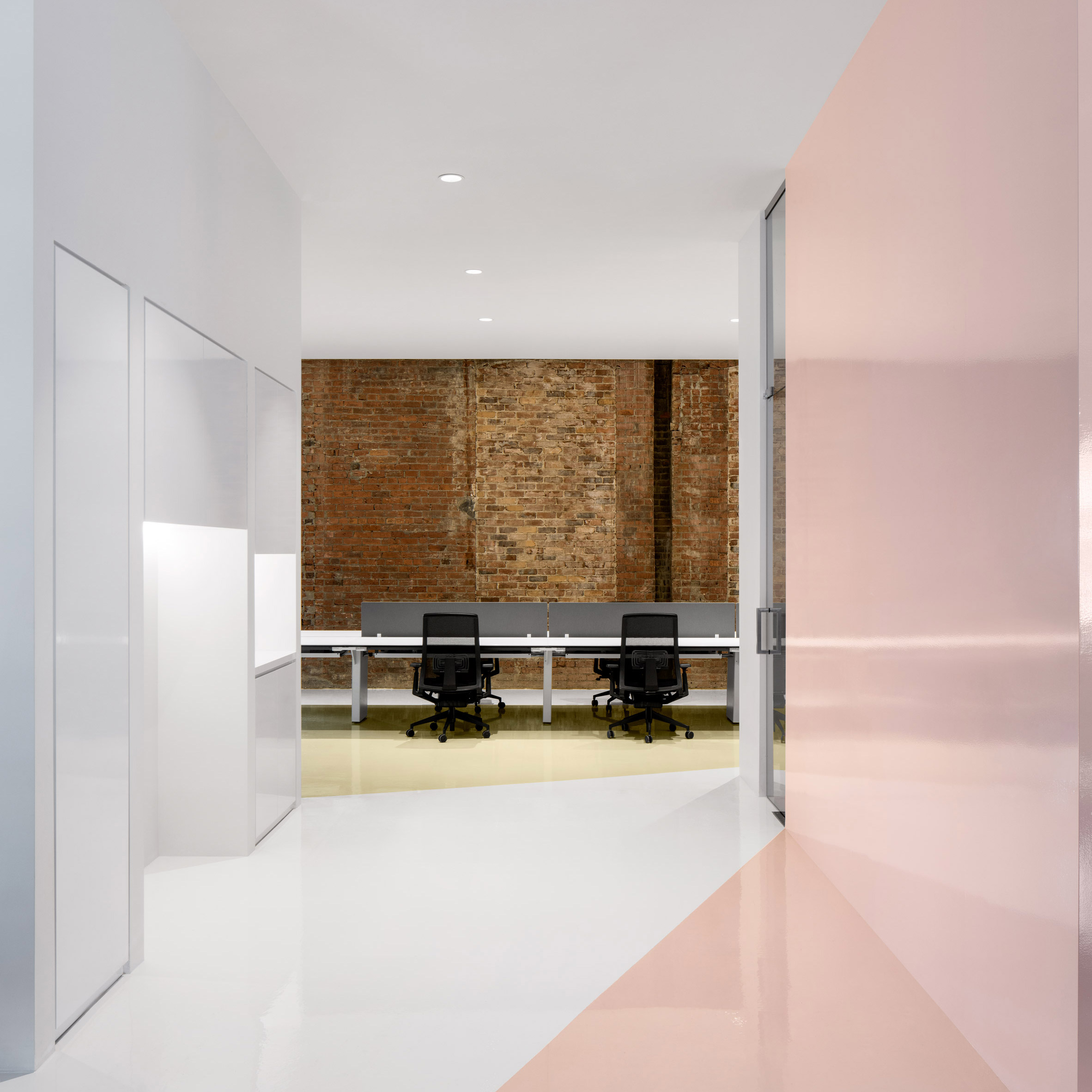 Interior Design Office Montreal: ACDF Architecture Combines Pastels And Exposed Brick At