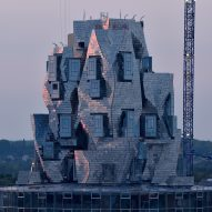 Frank Gehry's aluminium-clad Luma Arles tower takes shape in France