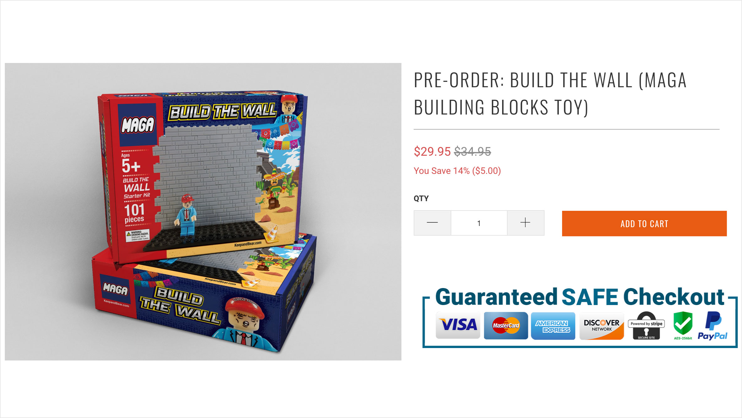 MAGA Building Blocks encourage children to construct toy border wall