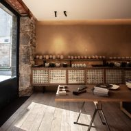 Guillaume Terver uses natural materials for Brittany ceramics store and adjoining Otonali eatery