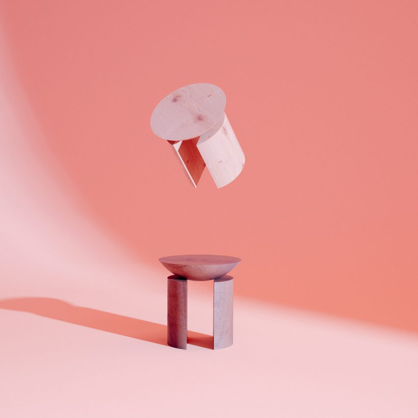 Pedro Venzon's Tríptico Infame, a trio of sculptural wooden stools