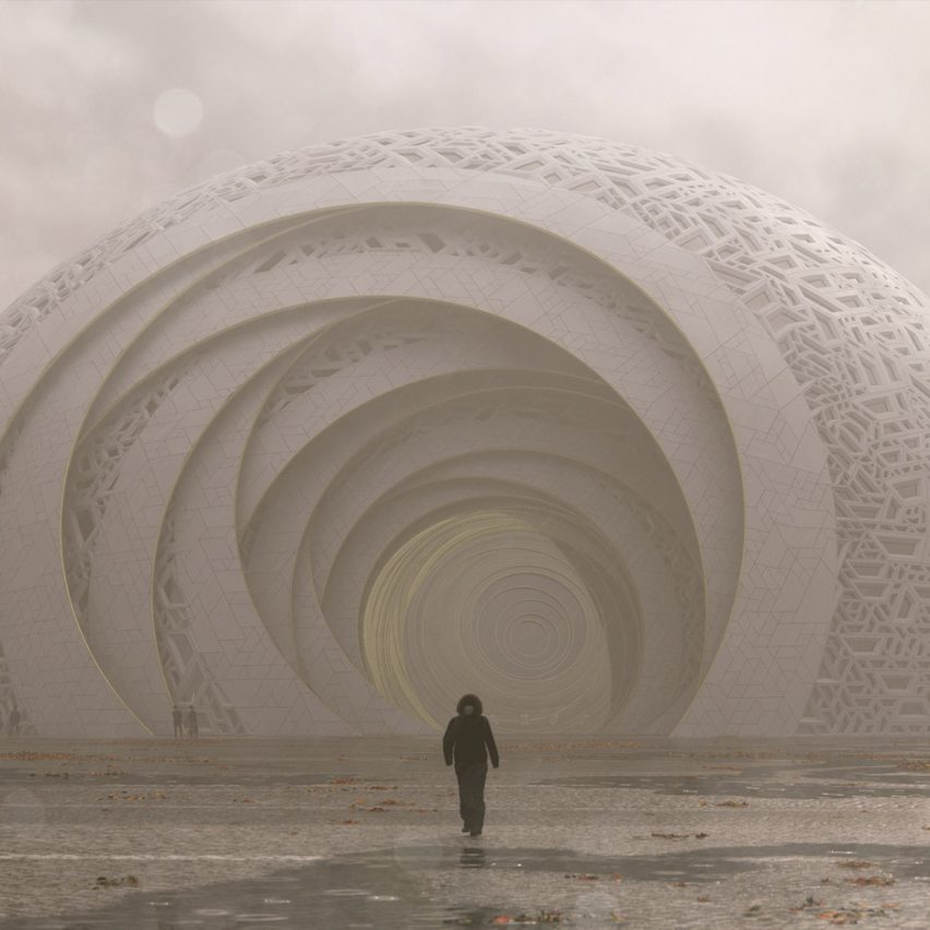 Puzzle Ball Theatre will be covered in geometric interlocking concrete panels