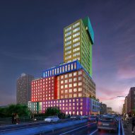 MVRDV's Radio Tower & Hotel for New York constitutes colourful Lego-like blocks