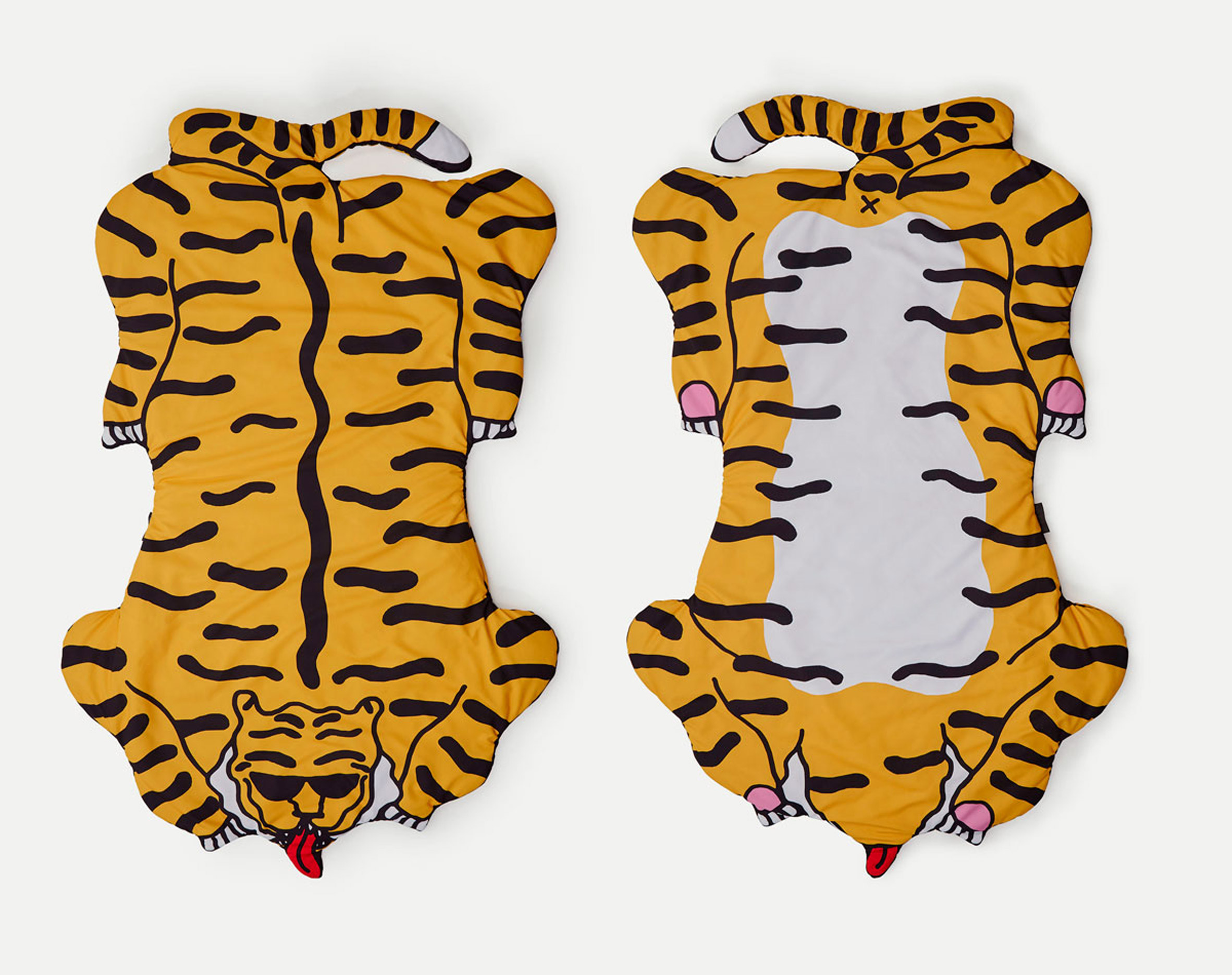 Sancal blankets by Egle Zvirblyte are patterned with tigers and bananas