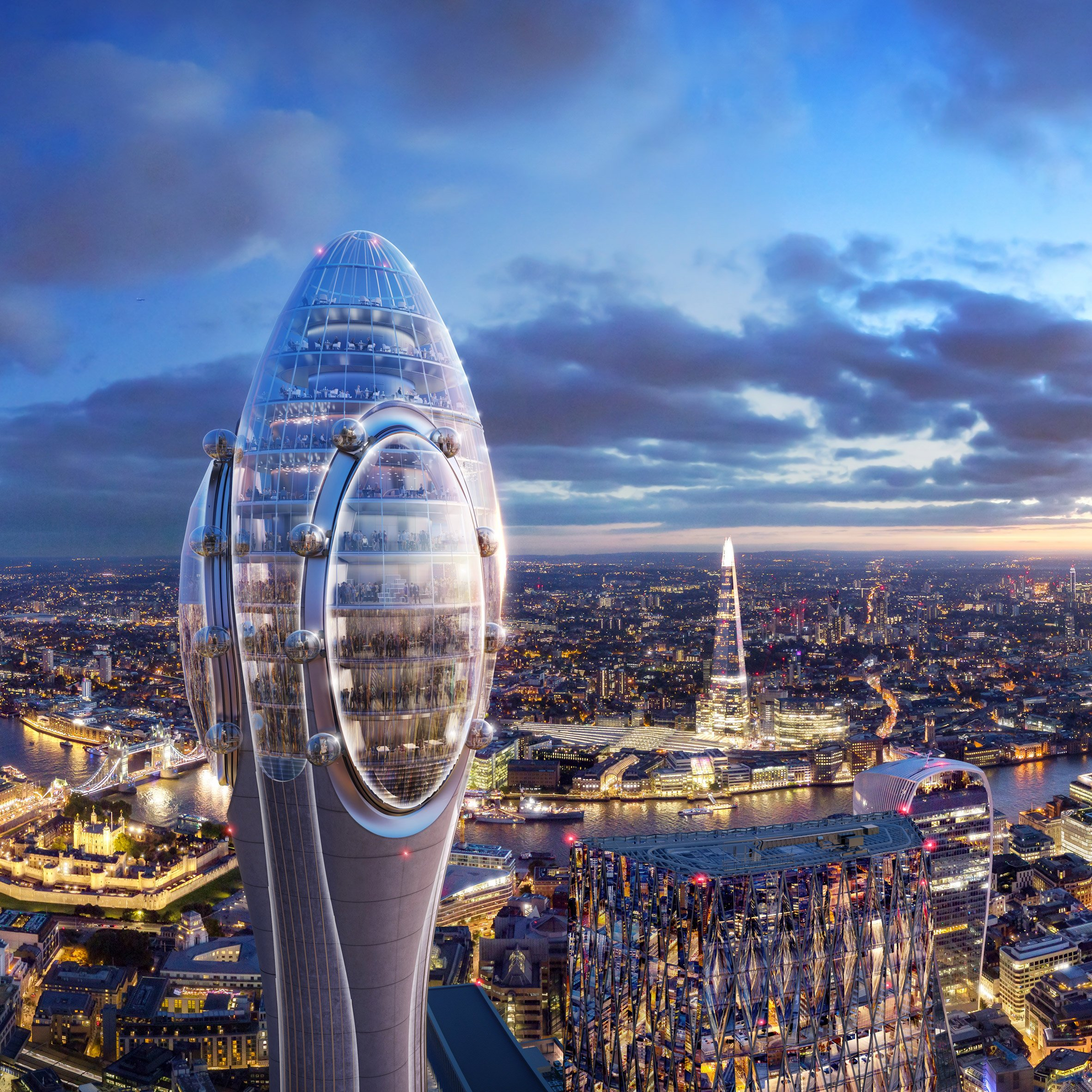 Foster Partners Designs The Tulip Tourist Tower Alongside The Gherkin In London