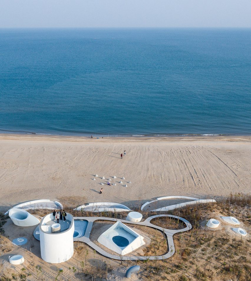 Aerial view of UCCA Dune Art Museum by OPEN Architecture