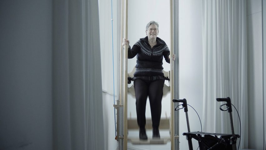 VertiWalk is a manually operated lift that allows people with physical disabilities to move between floors