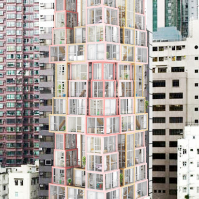 Tower Within a Tower is a proposal by Chicago studio Kwong von Glinow to build blocks formed of vertical apartments with rooms stacked on top of each other